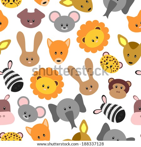 Seamless pattern with cute pet and wild cartoon animals. Vector seamless texture for wallpapers, pattern fills, web page backgrounds - stock vector