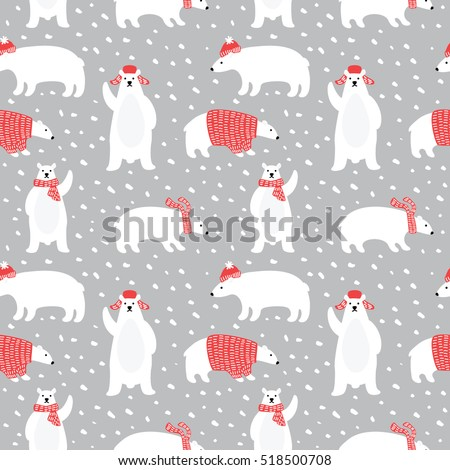 Seamless pattern with cute polar bears in simple cartoon style