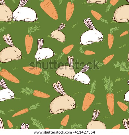 Seamless pattern with cute rabbits and carrots on the green background.White and beige bunny with carrots on the green background. - stock vector