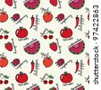 Seamless pattern with cute red fruits and vegetables - stock vector