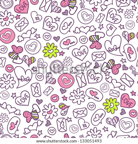 Seamless pattern with cute romantic elements