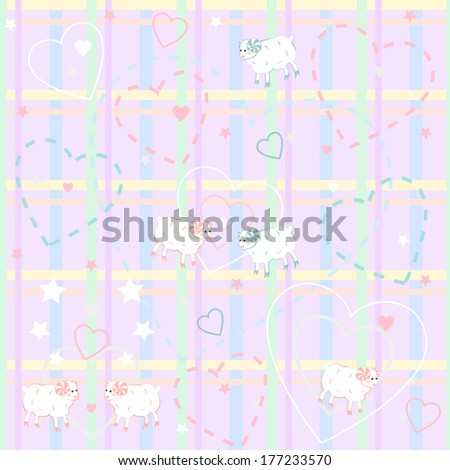 Seamless pattern with cute  sheep . Vector  illustration. - stock vector