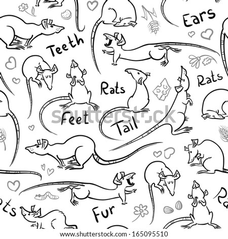 Seamless pattern with cute sketchy rats