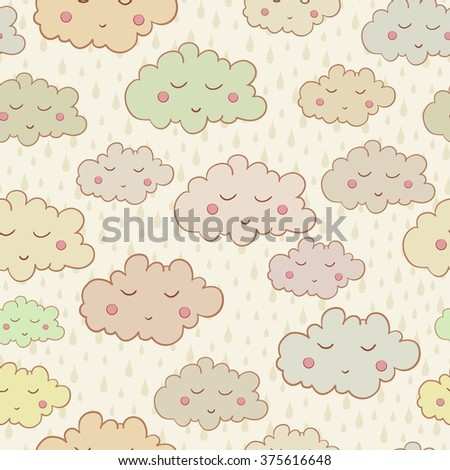 Seamless pattern with cute sleeping clouds and rain weather. Can be used for wallpaper, pattern fills, greeting cards, webpage backgrounds, wrapping paper or fabric. Vector illustration. EPS 10.