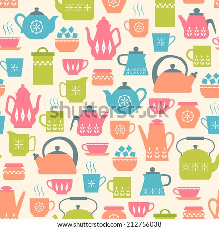 Seamless pattern with cute tea things. - stock vector