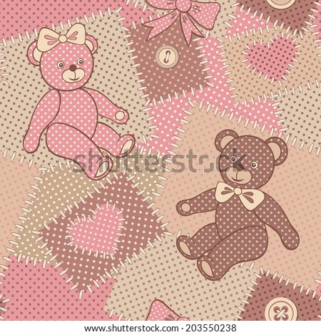 Seamless pattern with cute Teddy. Patchwork dotted background with plush bears. Retro style. Colorful vector illustration.  - stock vector