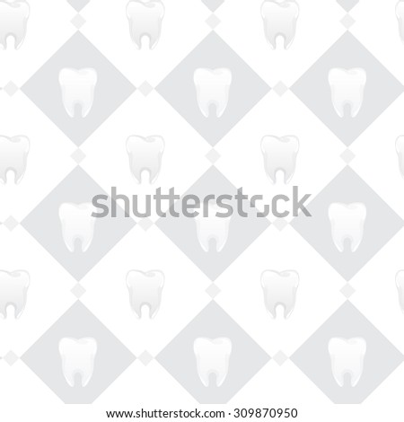 seamless pattern with cute tooth character - stock vector