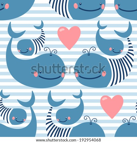 Seamless pattern with cute whales. Vector illustration. - stock vector