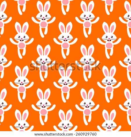 Seamless pattern with cute white bunnies - stock vector