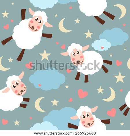 Seamless pattern with cute white ships - stock vector