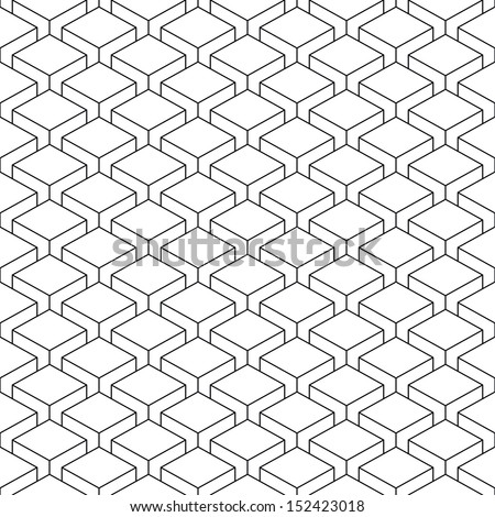 Seamless pattern with 3-D effect cubes in perspective. Linear swatch template surface with repetition geometric shape. Old retro styl background. Vector illustration clip-art web design elements 8 eps - stock vector
