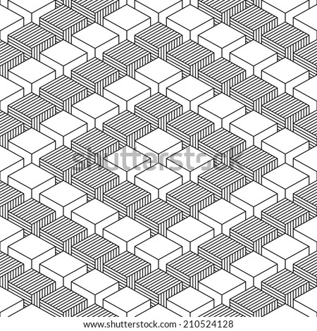 Seamless pattern with 3-D effect cubes in perspective. Variant 03 Black line on white background. This vector illustration clip-art web design elements save in 8 eps - stock vector