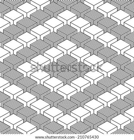 Seamless pattern with 3-D effect cubes in perspective. Variant 05 Black line on white background. This vector illustration clip-art web design elements save in 8 eps - stock vector