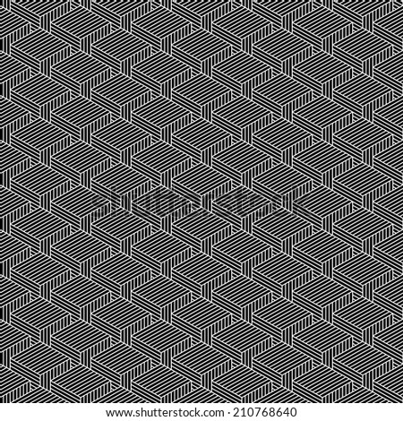 Seamless pattern with 3-D effect cubes in perspective. Variant 02 White line on black background. Graphic vector illustration clip-art web design elements save in 8 eps - stock vector