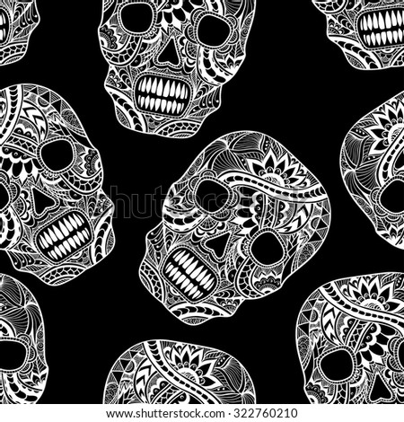 Seamless pattern with Decorate Skull painted ornament white on black for decorated clothes or party of Halloween or different things - stock vector