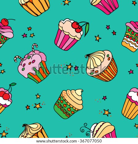 Seamless pattern with decorated sweet cupcakes and stars on turquoise background.Vector illustration. - stock vector
