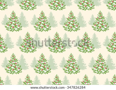 Seamless Pattern with Decoration Evergreen Christmas Tree Pine Isolated on Beige Background - stock vector