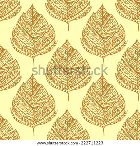 Seamless pattern with decorative autumn leaves, brown contour on a yellow background.