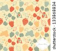 Seamless pattern with decorative berries. Vector berries background in summer colors - stock vector