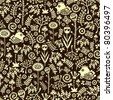 Seamless pattern with decorative birds, hearts and flowers. Vector doodle texture. - stock photo