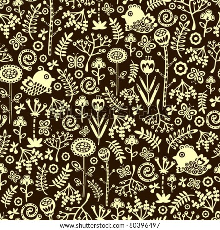 Seamless pattern with decorative birds, hearts and flowers. Vector doodle texture. - stock vector