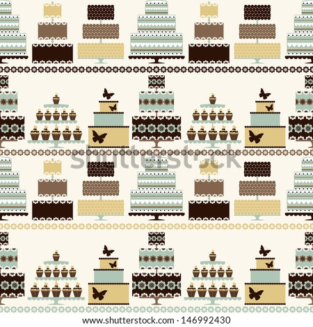 Seamless pattern with decorative cakes in retro colors. Vector background. - stock vector