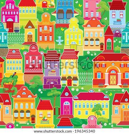 Seamless pattern with decorative colorful houses, spring or summer season. City endless background. Ready to use as swatch