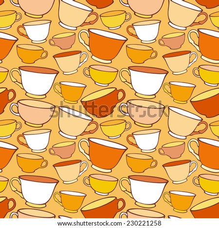 Seamless pattern with decorative cups. Vector illustration - stock vector