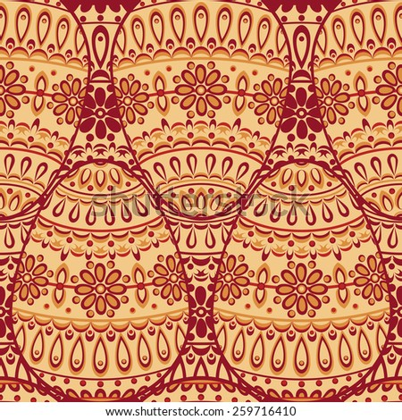 Seamless pattern with decorative eggs. Ornamental red and beige background. Vector colorful illustration. - stock vector