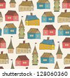 Seamless pattern with decorative houses. City background. Hand drawn town template for print, textile, wallpapers, crafts - stock photo