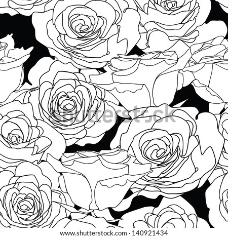 Seamless  pattern with decorative roses flowers in retro colors. Vector illustration.