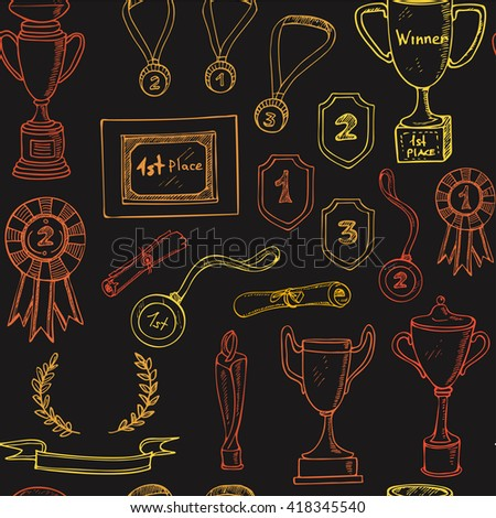 Seamless Pattern with decorative sketch Award with trophy, medal, winner prize, champion cup, ribbon. Isolated  Vector illustration. - stock vector