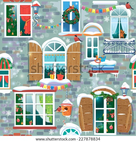 Seamless pattern with decorative Windows in winter time. Christmas and New Year holidays City endless background.  - stock vector