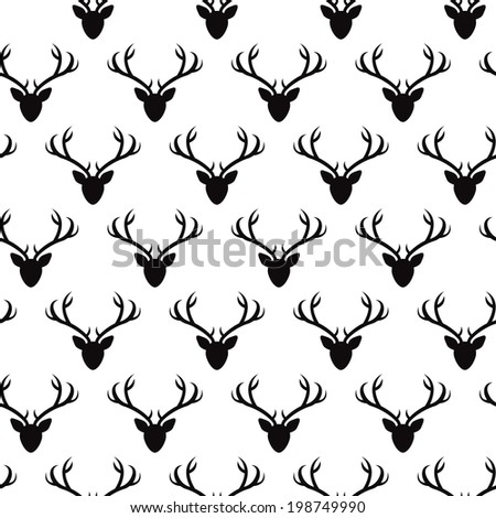 Seamless pattern with deer heads silhouettes. Vector seamless texture for wallpapers, pattern fills, web page backgrounds - stock vector