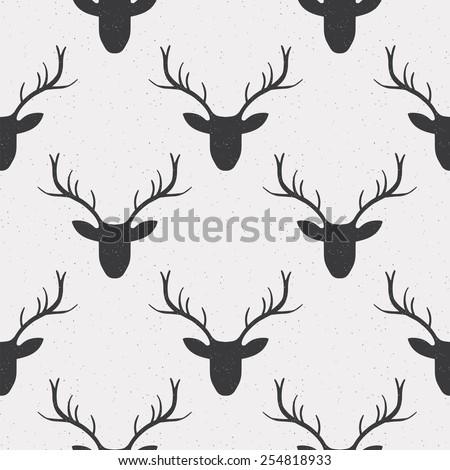 Deer illustration black and white - photo#47