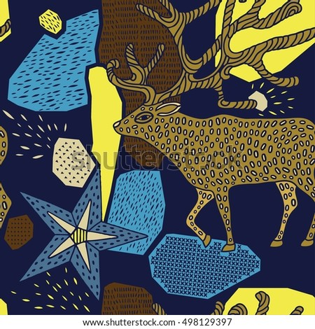 Seamless pattern with deer. Winter holidays.