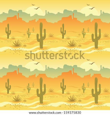 Seamless pattern with desert landscape and cacti in vector - stock vector