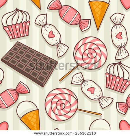 Seamless pattern with desserts and candy. - stock vector
