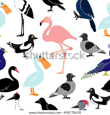 Seamless pattern with different birds on white background. Pelican, flamingo, woodpecker, swan, magpie, swallow, crows, cranes, peacock, pigeon. - stock vector