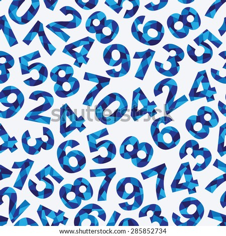 Seamless pattern with different blue abstract numbers - stock vector