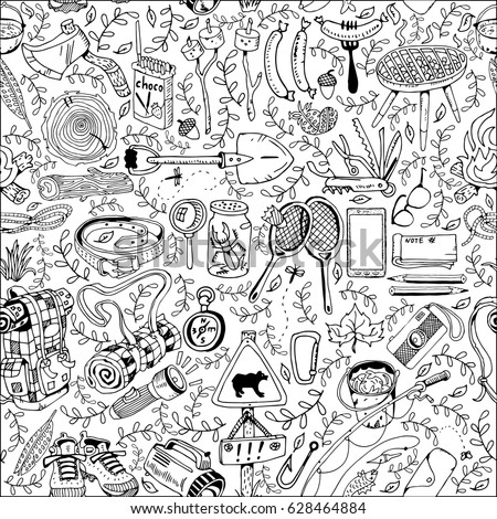 Seamless Pattern with Different Camping Objects.Travel and Recreation Time Concept. Hand Drawn illustration.