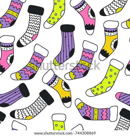 Seamless pattern different doodle santa socks stock photo photo seamless pattern with different doodle santa socks vector background christmas wallpaper wrapping paper voltagebd Gallery