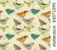 seamless pattern with different funny birds - stock vector