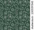 Seamless pattern with different icons - stock vector