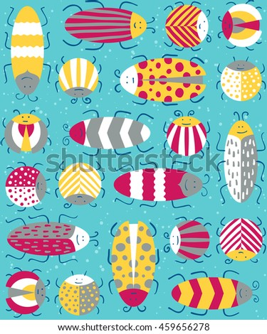 Seamless pattern with different insects. Vector illustration