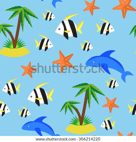 Seamless pattern with different marina creatures - stock vector