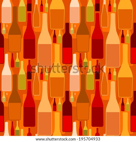 Seamless pattern with different shaped wine bottles