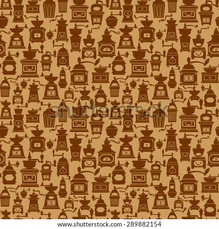 Seamless pattern with different shapes vintage coffee mills silhouettes. Background design for cafe or restaurant menu. - stock vector