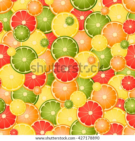 Seamless pattern with different slice citruses.Vector background