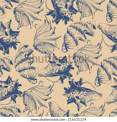 Seamless pattern with different stylized shells - stock vector